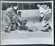 1954 Olympia Stadium Nhl Hockey Playoff Game Wire Photo Red Wings Vs Maple Leafs