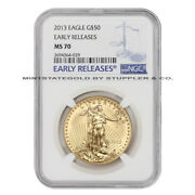 2013 50 Eagle Ngc Ms70 Early Releases American Gold Bullion Coin 1 Ounce 22-kt