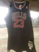 Black Michael Jordan Mitchell And Ness Jersey Stich Signed On The Back On The 2.