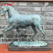 53 Cm Bronze Blue Chinese Zodiac Animal Wealth Fengshui Horse Equine Sculpture