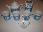 Vintage 1985 Fabrizio Blue Goose Pattern Teapot Cups Canister And Teabag Set
