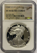 1988-s Silver Eagle Ngc Pf70 Ultra Cameo- Magnum Opus