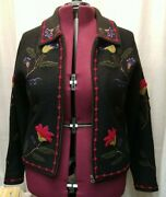 Tally Ho Womanand039s Wool Embroidered Jacobean Floral Cardigan/jacket
