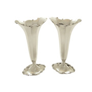 Pair Of Antique Sterling Silver Vases - 1912