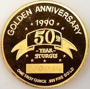 1990 Sturgis 50th Anniversary One Troy Ounce .999 Fine Gold Piece Serial 00013