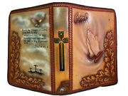 Vintage Hand Tooled Embossed Holy Family Bible Rare Giant Print Leather Cover V1