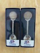 Two 50 State Quarter Us Mint Spoons - Virginia And Delaware - In Original Boxes