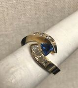 Stunning High Quality Natural Sapphire And Diamond 14k Yellow Gold Cocktail Ring
