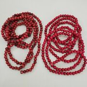 2 Wood Beaded Garland Strands Of 9and039 Vintage Red Christmas Tree Primitive 11.7mm