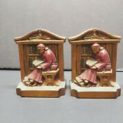 Antique Lva Signed 1922 Ronson Cast Metal Bookends Library Monk Lv Aronson