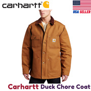 Menand039s Duck Chore Coat Blanket Lined C001 Small Brown
