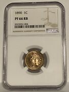 Ngc Pf-66 Rb 1890 Indian Head Cent, Fiery, Clearly Full-red Proof