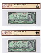 Set Of 2 - 1967 - Boc 1andnbsp Specimen Notes - Dbl Date And Serial - Graded Unc