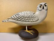 Large Snowy Owl Decoy Painting George Bell, Signed, '09, Full Size Contemporary