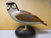 Large Barn Owl Decoy Painting George Bell, Signed, 2009, Full Size Contemporary
