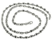 18k White Gold Chain Sailor's Nautical Navy Mariner Big Oval 4mm Link, 24 60cm