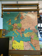 Reduced Seven Vintage Weber Costello Multi Pull Down Map Set W/ Original Display