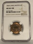 1864 Two Cent Large Motto Gem Ngc Ms66+rb Outstanding Immaculate 2 Cent Epic