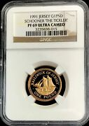 1991 Gold Jersey 250 Minted 1 Pound Ngc Proof 69 Uc Schooner The Tickler