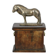 Solid Wood Casket With Bronze Statue Pony Horse Cremation Urn For Ashes 3