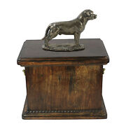Wood Casket Rottweiler With A Tail Memorial Urn For Dog's Ashes,with Dog Statue