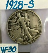 1928 S Walking Liberty Silver Half Dollar In Very Fine Condition