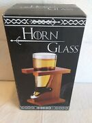 Medieval Viking Glass Horn Beer Mug Thick Glass Wood Stand 20 Oz/ 590ml Spencers