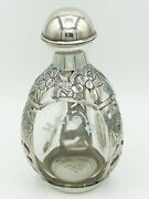 Antique Sterling Silver Overlay Haigandrsquos Pinch Whiskey 3 Sided Bottle. Pre 1948.