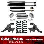 3 Full Drop Lowering Kit For 1982-2004 Chevy S10 V6 W/ Shocks Spindle Springs