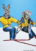 Gillie And Marc Snow Lovers Mixed Media On Canvas Painting 122cm X 82cm
