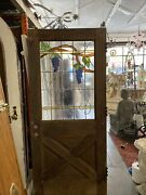 Old Stained Glass Farmhouse Style Door 79 X35.75