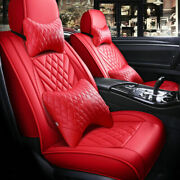 Update Red Leather 5-seats Car Suv Seat Cover Auto Accessories Interior Set 11pc