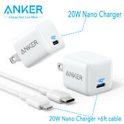 Anker Nano Charger 20w Fast Charger 6ft Cable Usb-c Power Adapter For Iphone 12