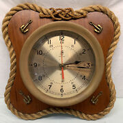 Large Heavy Vintage Brass Ships Clock 9.5 Wide On 15 Wood Nautical Plaque