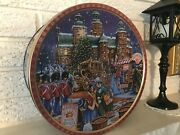 Embossed Christmas Holiday Jacobsens Danish Butter Cookie Tin Litho Can Koppic