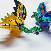 Bobble Head Dragon Carving Toy Hand Painted Animal Craft - 2 Pcs