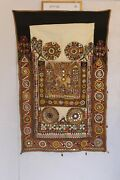Vintage Kutch Wall Hanging Décor From Indian Hand Embroidery Mirror Work 64x40