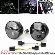 For Harley Dyna Fat Bob Fxdf 08-16 4.65 Inch Twin Dual Motorcycle Led Headlight