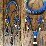 Custom Paracord Duck Goose Waterfowl Call Lanyard Grey And Blue With White Skulls