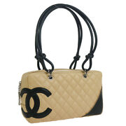 Cambon Line Quilted Hand Bag 10160507 Purse Beige Black Leather 38716