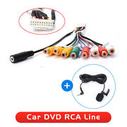 20 Pin Plug Car Stereo Radio Rca Output Cable Aux-in Adapter Connector +micphone