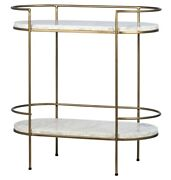 32 T Viviano Oval Trolley Two Tier White Marble Stone Antique Brass Metal
