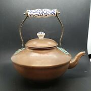 Vtg Odi Portugal Solid Copper Teapot With Painted Porcelain Handle