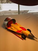 1950s Ideal Turbo-jet Car Wind-up Rocket Race Toy With Launching Platform Works