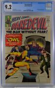 Daredevil 3 Cgc 9.2 1st Appearance Of The Owl 1964 Off White White Pages