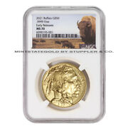 2021 50 American Gold Buffalo Ngc Ms70 Er Early Releases 1oz Coin W/bison Label