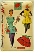 1953 Simplicity Sewing Pattern 4492 Womens Cobbler And Half Apron Potholder 8404