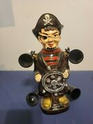 Vintage Ceramic Pirate Decanter And 4 Cups