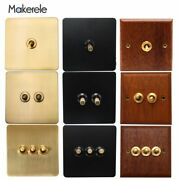 Toggle Switch 1/2/3 Gang Wall Lamp Switch 10a Retro Stainless Steel Wood Brass