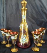 Antique Moser Bohemia Cranberryand Heavy Gold Decanter And Cordials Set Enameled 💐
